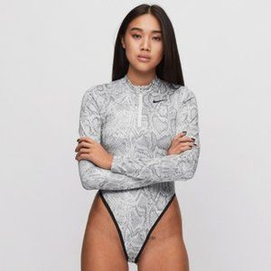 Nike Tops - NWT Nike Snake Print Long Sleeve Zip Bodysuit L